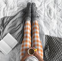 Orange Gingham Plaid COMFORTI™ Leggings, Capris & Shorts