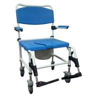Bariatric Aluminum Rehab Shower Commode Chair with Two Rear-Locking Casters By Drive