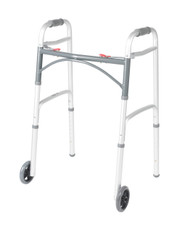 "Deluxe Two Button Folding Walker with 5"" Wheels By Drive"