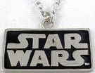 Star Wars SW Logo Metal Chrome / Black Color Pendant Necklace