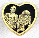 Star Wars C-3PO & R2-D2 Gold Heart Shaped Pin 1 inch