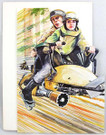 1983 Star Wars Luke & Leia Speeder Birthday Card