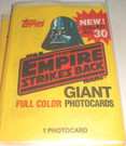 1980 Star Wars ESB Topps Large 5x7 Cards Empty Wrapper