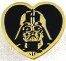 Star Wars Darth Vader Gold Heart Shaped Pin 1 inch