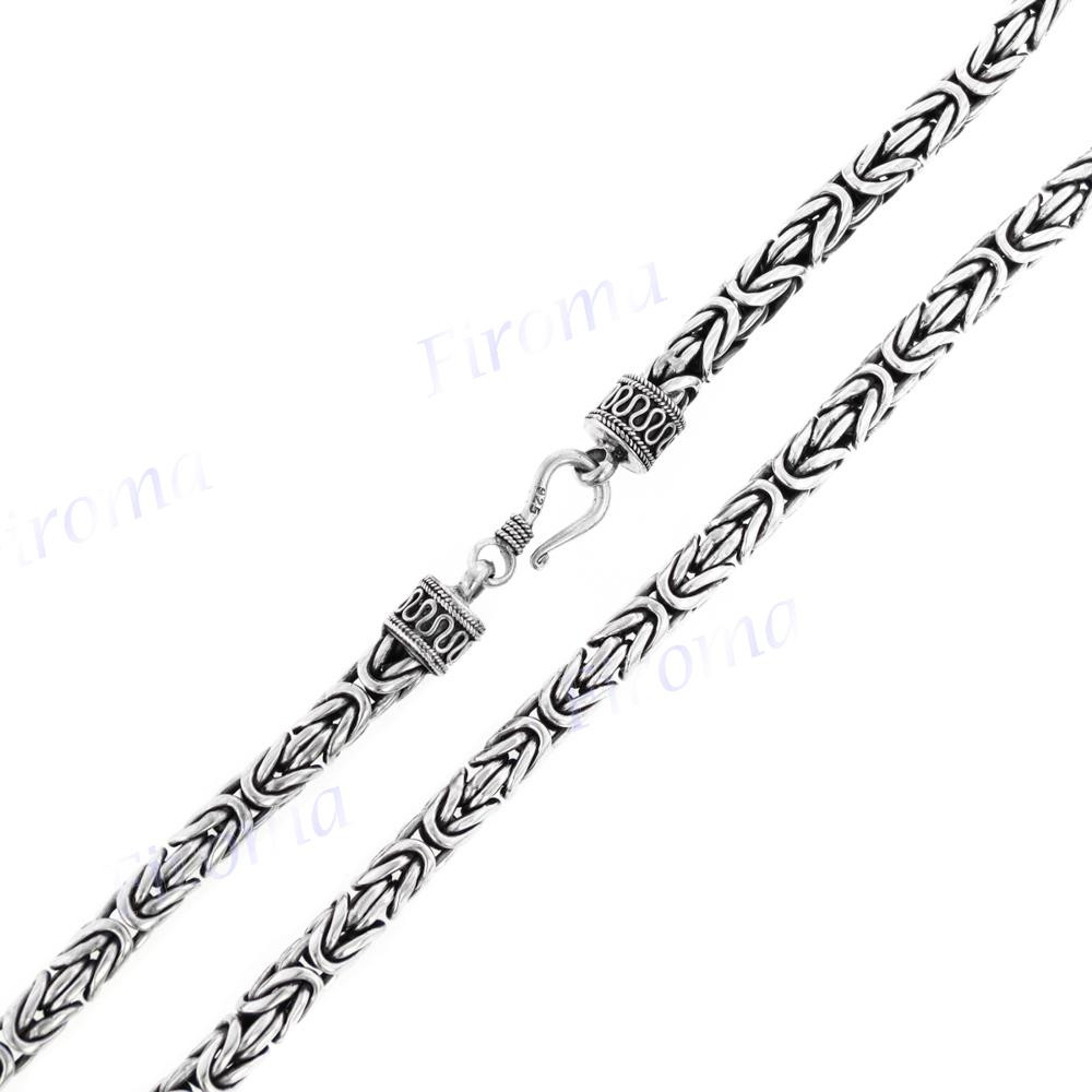 5mm mens 925 sterling silver byzantine chain necklace with removable endcap  s5799