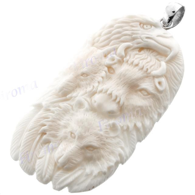 925 Silver Bison Bone Carved Totem Eagle Bear Wolf Pendant S3283 Fifirose