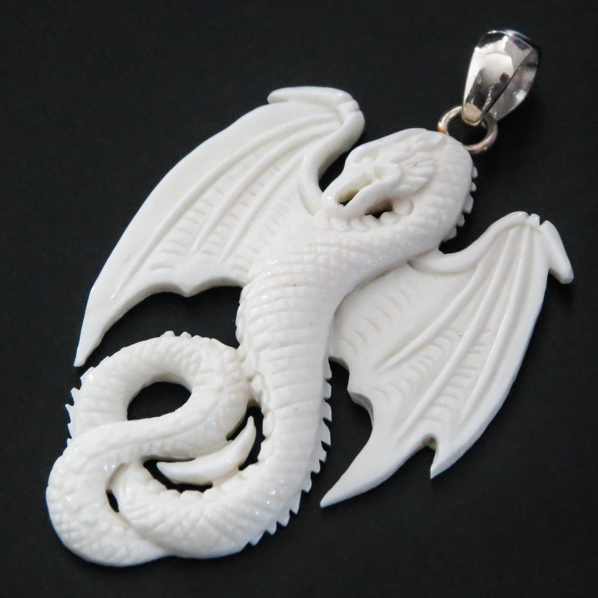 2 3 8 925 Silver Bison Bone Carving Dragon Us Pendant S4057 Fifirose