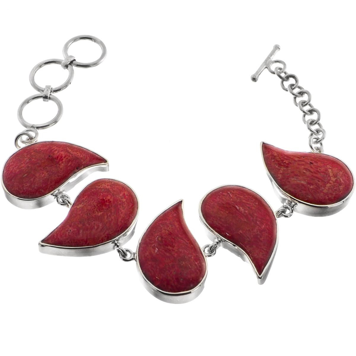 ON SALE Red sponge coral necklace handmade in sterling silver 925