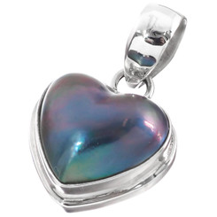1 Dainty Valentine Heart Blue Mabe Pearl 925 Sterling Silver Pendant