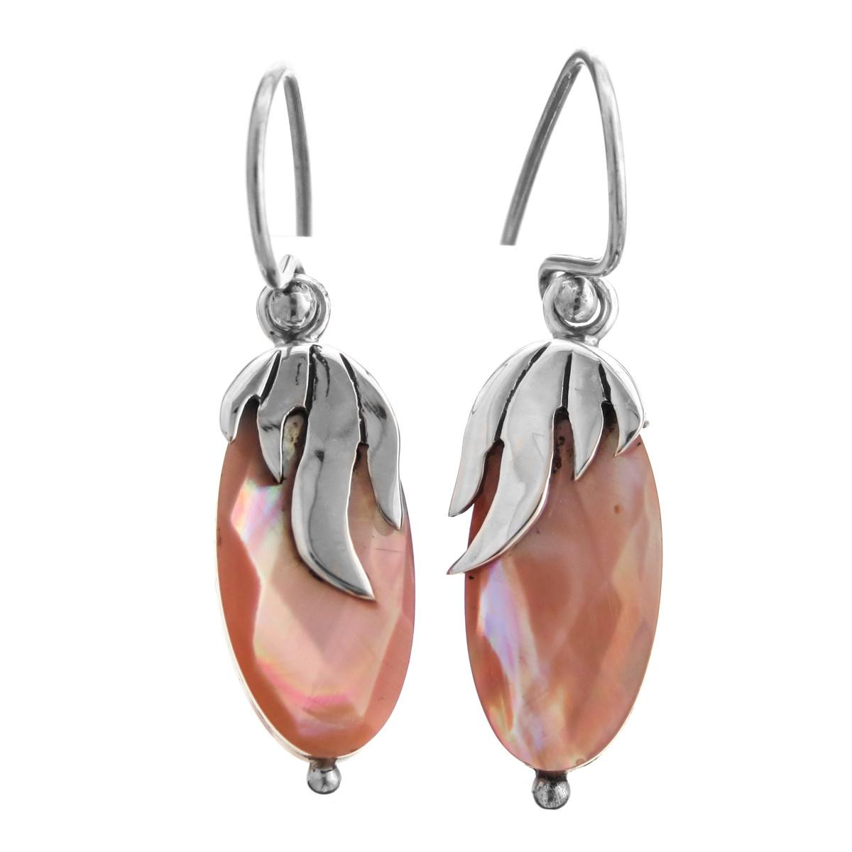 916 Pink Mother Of Pearl Shell 925 Sterling Silver Earrings