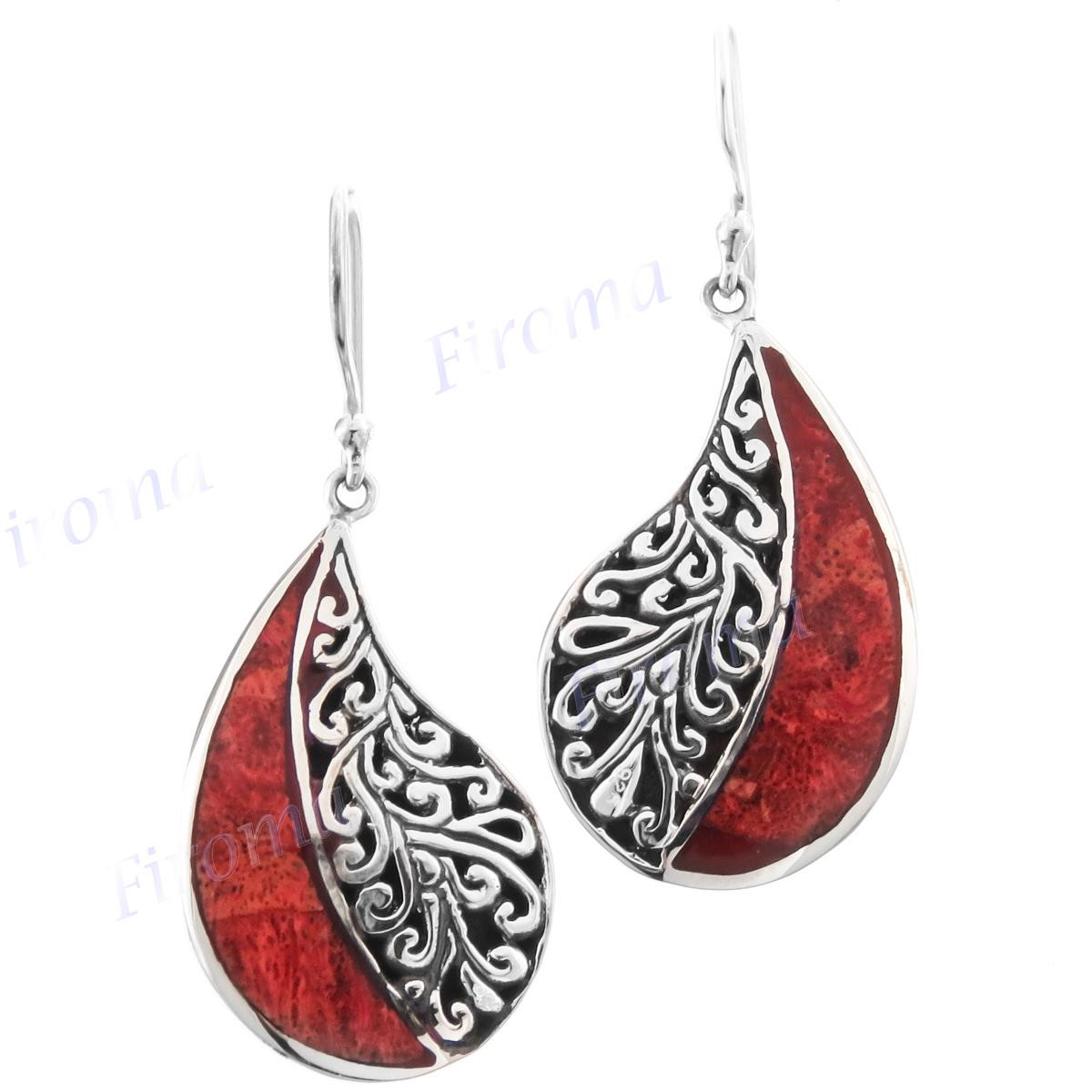 1 38 Red Coral Jellyfish 925 Sterling Silver Earrings
