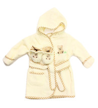Hooded Terry Bathrobe with Booties, Brown Bear
