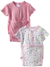2 Pack Wrap Bodysuit, Pink Flower
