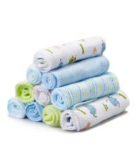 10 Pack Washcloth Set, Blue Elephant