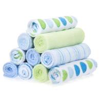 10 Pack Washcloth Set, Blue Dots