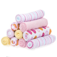 10 Pack Washcloth Set, Pink Dots