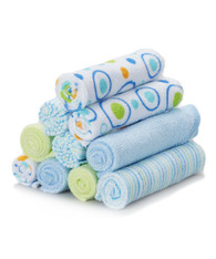 10 Pack Washcloth Set, Blue Circle