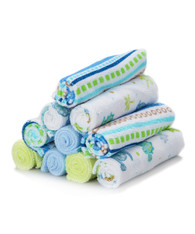10 Pack Washcloth Set, Blue Lines