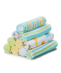 10 Pack Washcloth Set, Yellow Lines