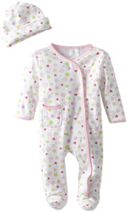 Sleepwear Footie Set with Hat, Pink Flowers