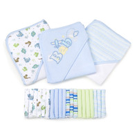 23 Piece Bath Towel Washcloth Giftset, Blue