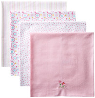 4 Pack Receiving Blanket, Pink Flowers