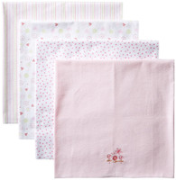 4 Pack Receiving Blanket, Pink Garden