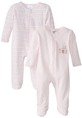 2 Pack Sleepwear Footie Set with Hat, Pink