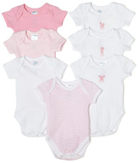 7 Pack Short Sleeve Bodysuit, Pink