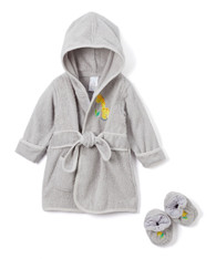 Hooded Terry Bathrobe with Booties, Grey Giraffe
