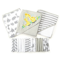 23 Piece Bath Towel Washcloth Giftset, Grey