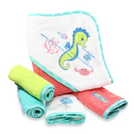 Hooded Terry Bath Towel with 4 Washcloths, Teal Seahorse