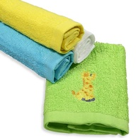 4 Pack Woven Washcloth Set, Yellow Giraffe