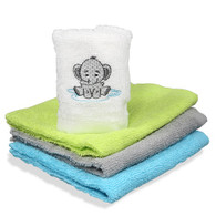 4 Pack Woven Washcloth Set, Grey Elephant