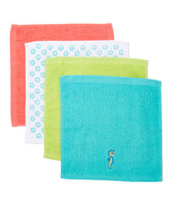 4 Pack Woven Washcloth Set, Teal Seahorse