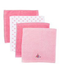 4 Pack Woven Washcloth Set, Fuchsia Fish