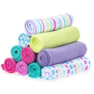 10 Pack Washcloth Set, Aqua Bubbles