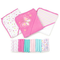 23 Piece Bath Towel Washcloth Giftset, Pink Butterfly