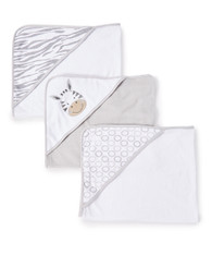 3 Count Soft Terry Hooded Towel Set, Grey Zebra