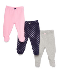 3 Pack Footed Pants, Navy Dots