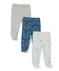 3 Pack Footed Pants, Navy Ocean
