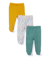 3 Pack Footed Pants, Green Rainforest