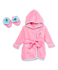 Hooded Terry Bathrobe with Booties, Pink Flamingo