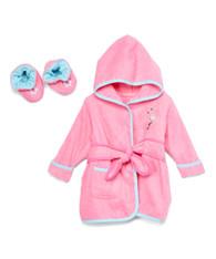 Hooded Terry Bathrobe with Booties, Pink Flamingo
