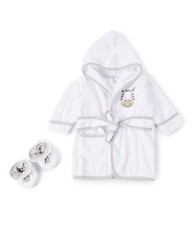 Hooded Terry Bathrobe with Booties, Grey Zebra