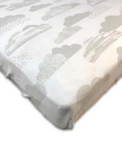 Cotton Jersey Cribsheet Standard Size, Grey Clouds