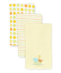3 Pack Burp Cloth, Yellow Ark
