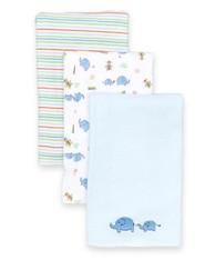 3 Pack Burp Cloth, Blue Elephant
