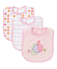 3 Pack Feeding Bibs, Pink Fish