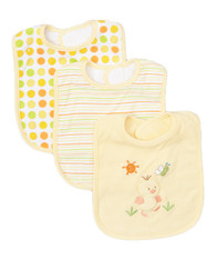 3 Pack Feeding Bibs, Yellow Duck